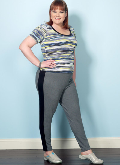 Knit Tops and Elastic-Waist-Pants with Contrast Band
