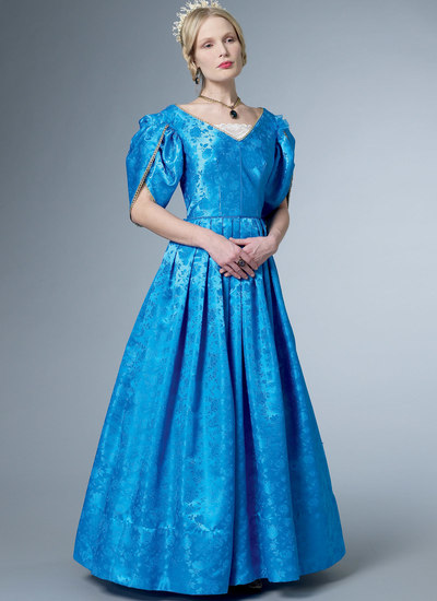 Dress with Boned Bodice, Lined Tulip Sleeves, and Chemisette