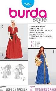 Dress and bonnet, Middle ages. Burda 7468.