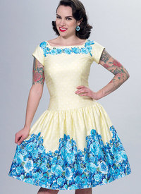 Square-Neck, Dropped-Waist Dresses and Petticoat Ruffle. Butterick 6484.