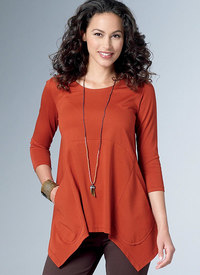 Loose Knit Tunics with Shaped Sides and Pockets. Butterick 6492.