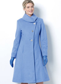 Jacket and Coats with Asymmetrical Front and Collar-Variations. Butterick 6497.