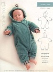 Cute bodysuit for the baby with a hood and wrap-around-closure.
