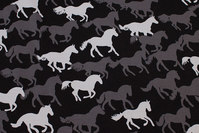 Black cotton-jersey with horses in grey nuances