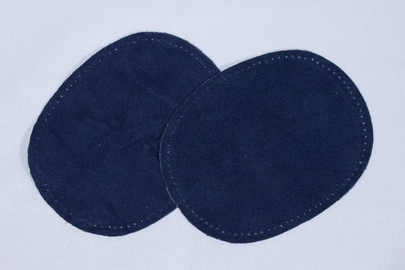 Blue, oval patches in suede 2 pcs