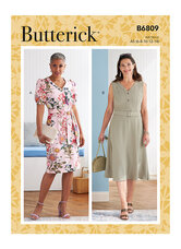 Dress, Sash and Belt with AB, C, D, DD Bust Cup. Butterick 6809.