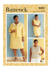 Jacket, Dress and Top with CD, DD, DDD, G, H Cup Sizes. Butterick 6822.