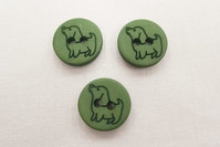 Button with dog 1.5 cm green
