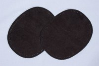 Dark brown, oval patches in suede 2 pcs