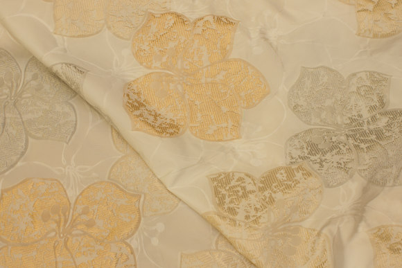 Off white brocade-taffeta with big leaves in grey and golden