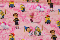 Pink and soft red cotton-jersey with minions