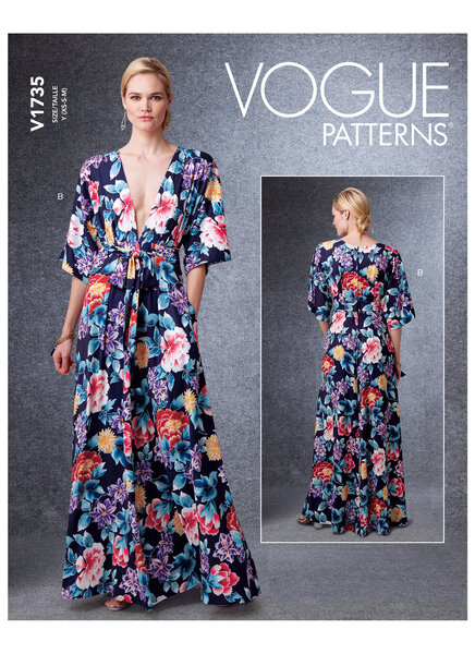 Deep-V Kimono-Style Dresses with Self-Tie