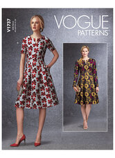 Fit-And-Flare Dresses with Waistband and Pockets. Vogue 1737.
