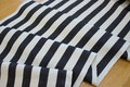 White sunchair fabric with black stripes, 4 cm stripes