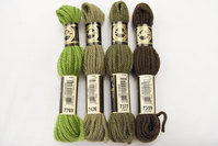Wool-embroidery yarn DMC green-brownish