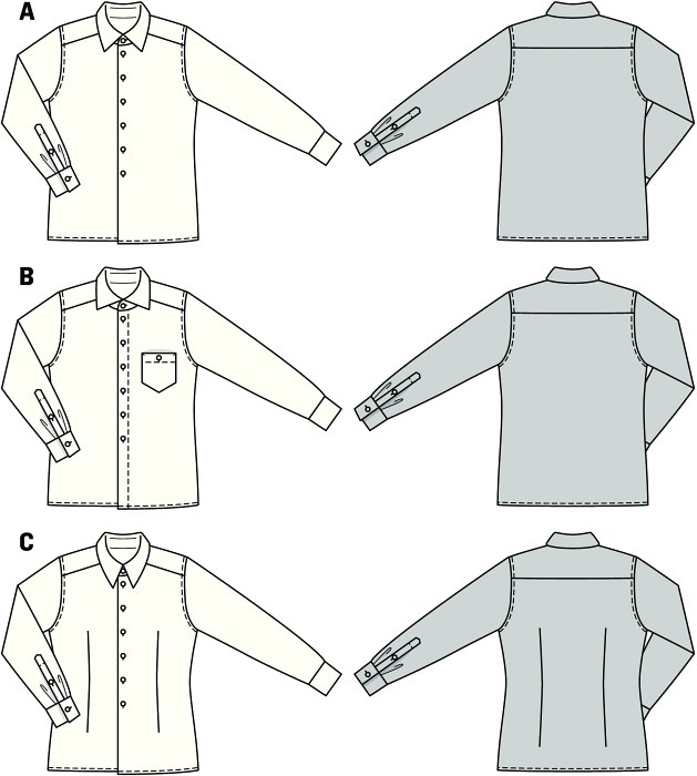 Hip shirts for office and leisure time. A and B moderately wide cut, C fit to the figure with darts. The collars make all the difference, you can choose between a Windsor collar, a shark collar and a button-down collar.