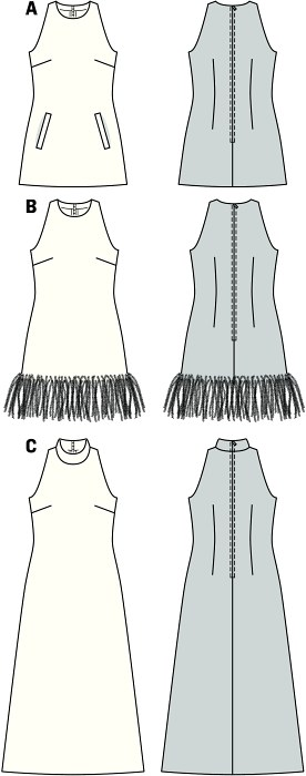 No-frill dresses for the confident woman, being the focus. All slightly flared, fitted at the back waist, with shoulders left exposed. Variant C with standing collar. B to fight the evening chill, with feather edging at the hem.