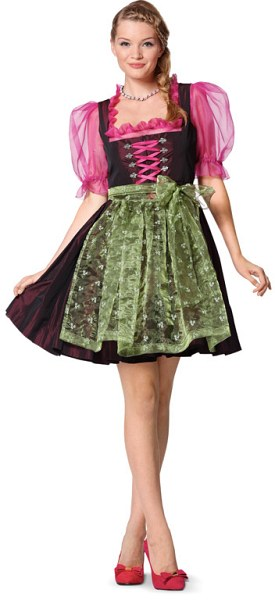 Dirndl folklore robe or dress, lacing and zipper