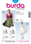 Burda 7057. Dirndl folklore robe or dress, lacing and zipper.