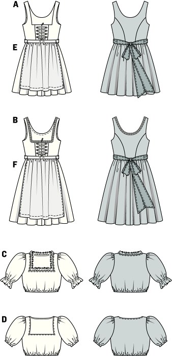Smart dirndl dresses, showing the characteristics of their kind: bodice with square décolleté and fancy lacing, gathered, wide skirts (A short, B covering the knee), matched with the short dirndl blouses with puff sleeves. The aprons complete the look.