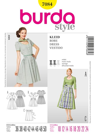 Dress with buttons and short or long sleeves