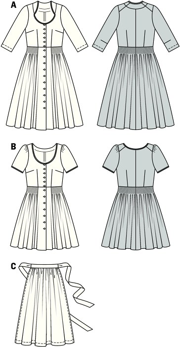 These smart dirndl dresses do not necessarily require a blouse, nor does variant B need an apron. Sewn from nicely printed fabrics, buttoned, charming neck, fancy edging, skirt with tiny pleats: definitely an eye-catcher.