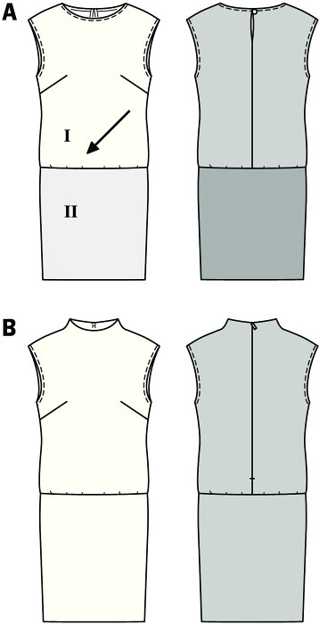 Narrow, sleeveless dresses with dropped shoulders, feminine cut with low-waist skirt. Variant A: mix of two different fabrics, top cut on the bias. Variant B: loose-fit, slightly raised neck.