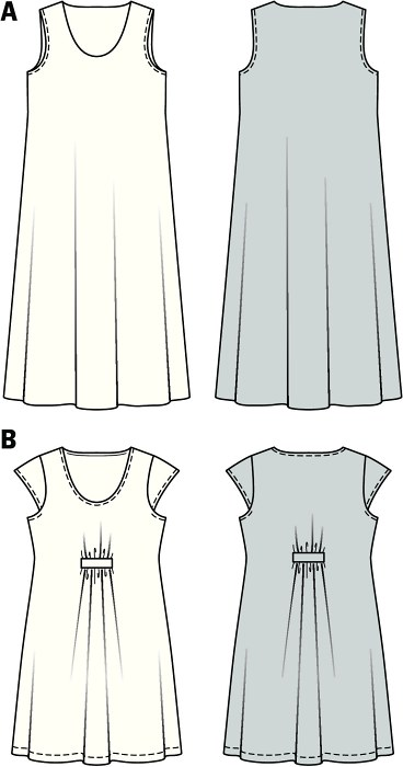 Lightweight materials or jersey, fanciful prints or plain color fabrics: light sundresses, quick and easy to sew, just make your choice. Either floor-length and sleeveless or covering the knee, with small sleeves and charming gathering-up of the front and the back. Each a unique piece that guarantees absolute wearing ease.