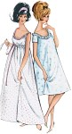 Marvelous ensemble with all the charms of the 50s: long, sleeveless night gown with elastic casing or shorter variant covering the knee, with short sleeves or cute baby doll with bloomers.