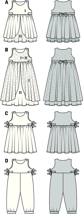 Dress in two different lengths, designed either formal or fanciful. Variant A and B: overskirt consisting of two halves, with bands tied to  a bow in the back. C with beautiful tiny side bow. The light jumpsuit with small waistband guarantees enough wearing ease and fun. All closed with a button at the shoulders.