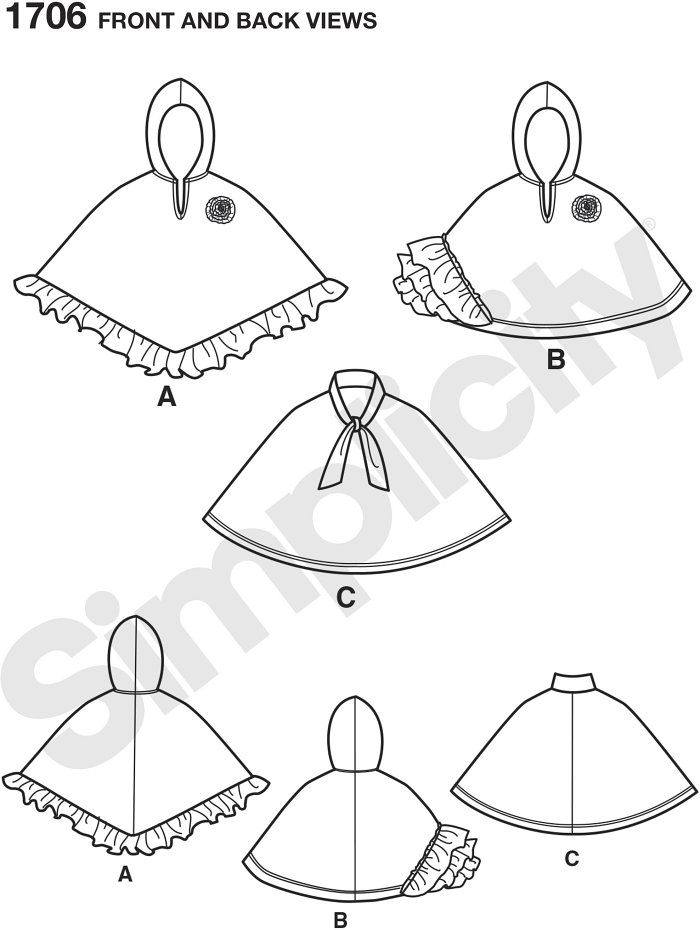 Childs pullover capes fashioned from easy to sew, non-raveling fleece fabric have hood or tie collar to keep out the wind. Fleece ruffles and flower embellishment make these capes as cute as they are cozy. Simplicity craft sewing pattern.