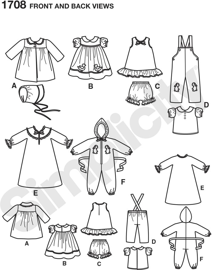 """Simplicity Archives circa. 1950 doll clothes fit vintage and modern 15"""" baby dolls. Pattern includes doll coat and bonnet, dress, slip, bloomers, overalls, shirt, nightgown and jumpsuit."""