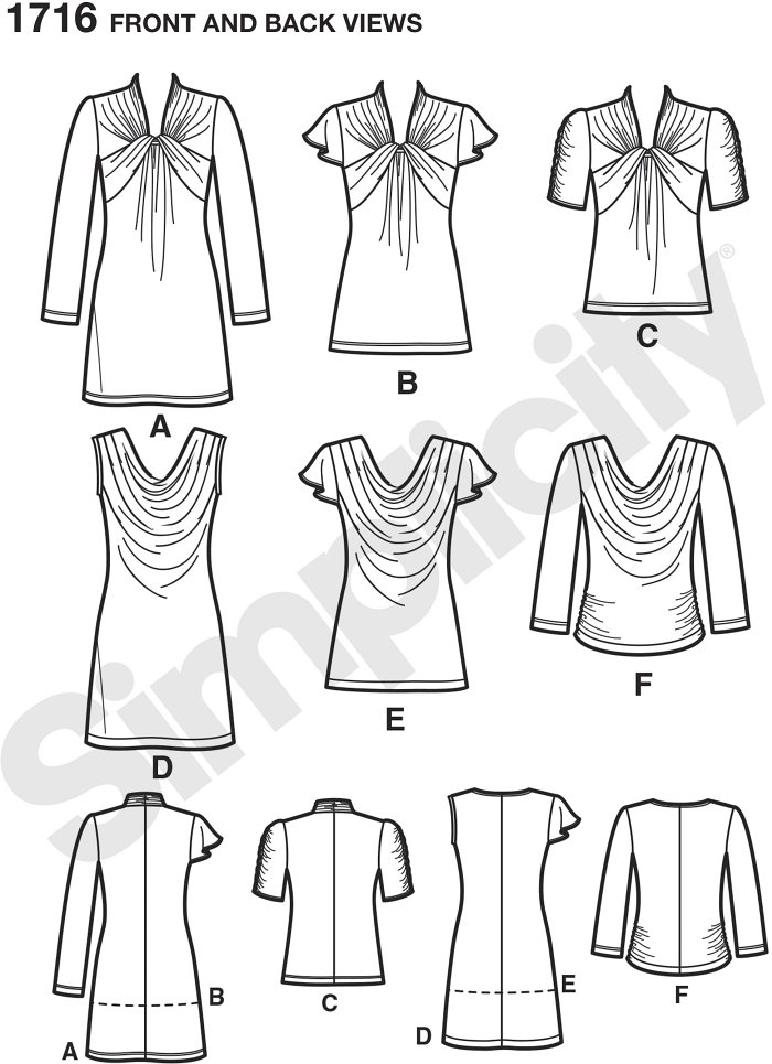 Misses knit mini-dress, tunic and top can be made with a front twist or draped neckline with five different sleeve variations to choose from. Simplicity sewing pattern.