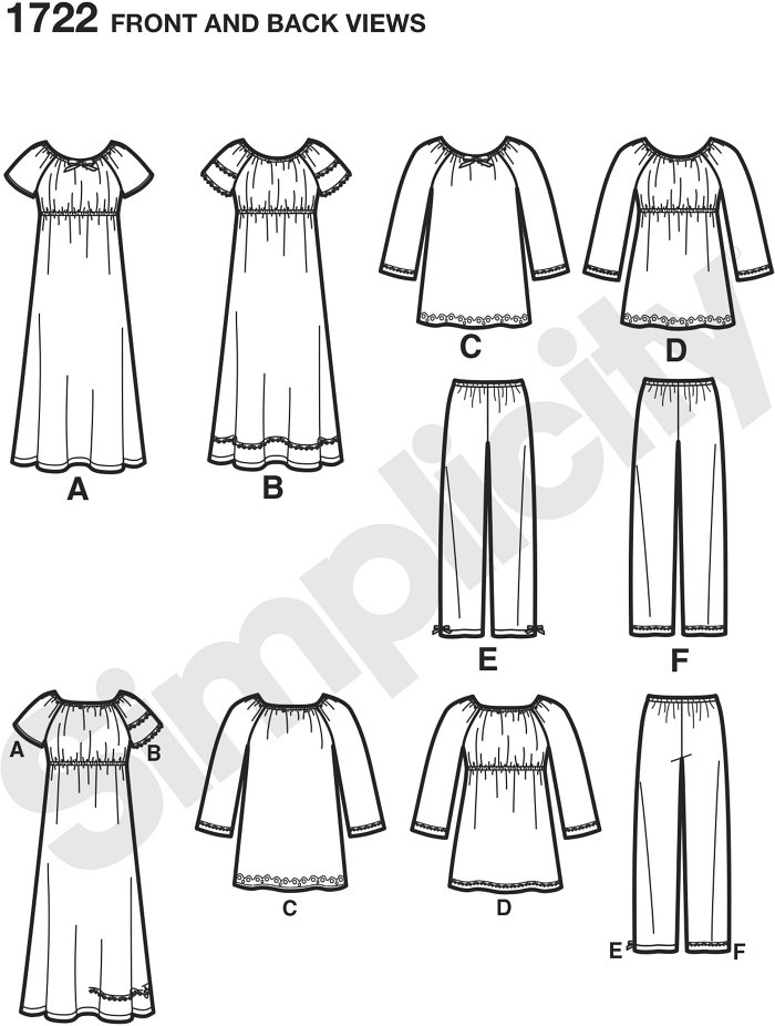 Simplicity´s Learn to Sew collection. Child´s and girls´ lounge dress top has elasticized neck, long or short raglan sleeves and trim variations, A, B and D have empire waist detail.  Pull on Trousers have elastic waist.