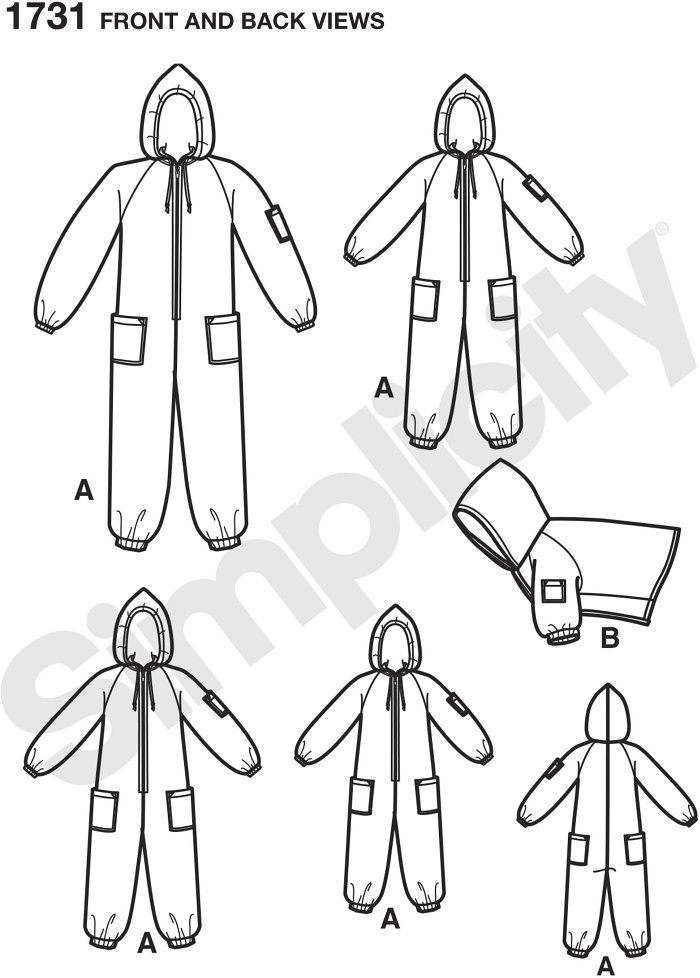 Child´s, teens´ and adults´ hooded fleece jumpsuit has zip front, patch pockets and elasticized ankles and sleeves.  Matching dog coat in three sizes S,M,L included. Simplicity sewing pattern.