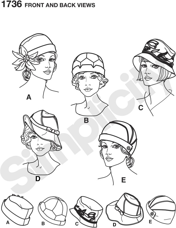 "Misses´ vintage style hats in three sizes… S(21""), M(22""), L(23""). Simplicity sewing pattern. Andrea Schewe."