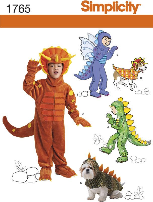Simplicity 1765 Dinosaur Udklædning Til Børn Og Dyr Fjølner