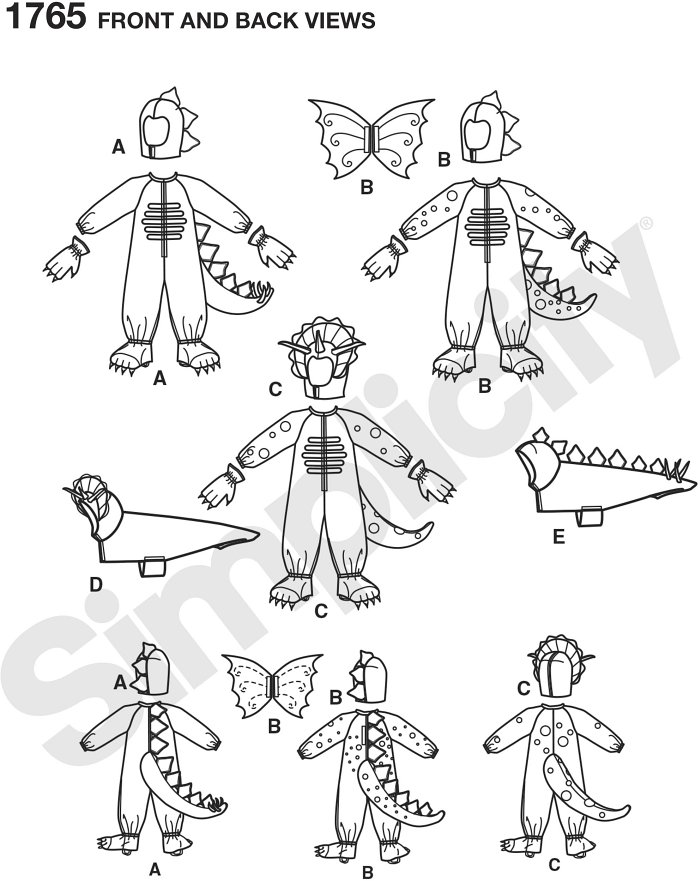 """Childs dinosaur and dragon costumes in sizes 3 to 8 plus dog dinosaur costumes in three sizes S (13""""), M(15""""), L(17"""").  Simplicity sewing pattern."""
