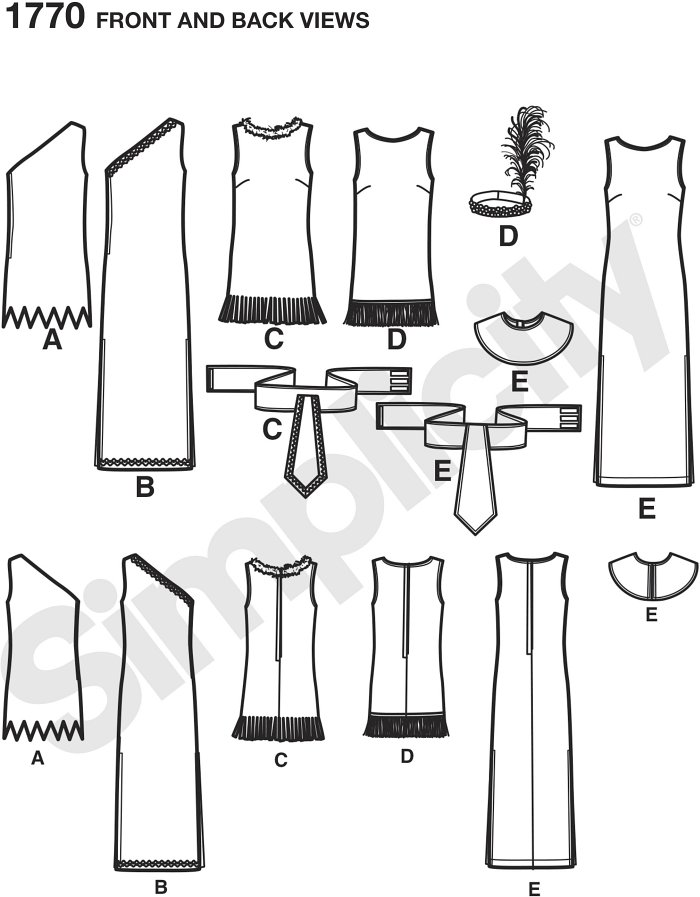 Misses´ cave woman, Egyptian, Native American and flapper girl costumes are easy to sew in no time! Simplicity costume pattern.