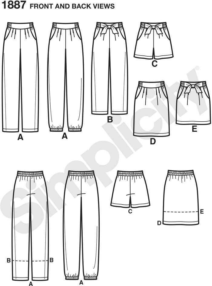 Misses´ Trousers in two lengths with cuff variations, shorts and skirt in two lengths. Simplicity sewing pattern.