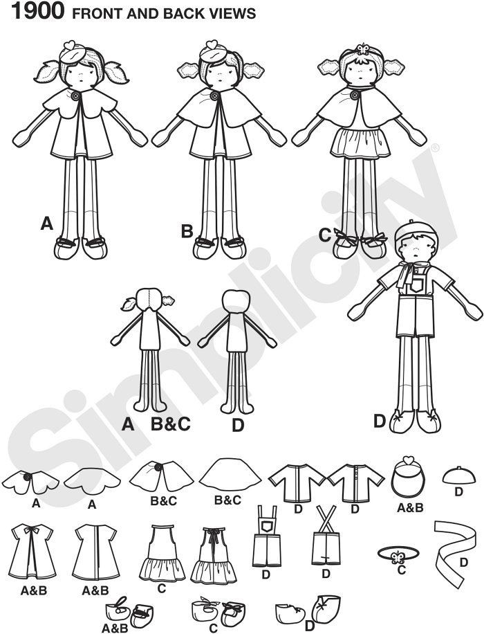 Boy and girl dolls and doll clothes sewing patterns.