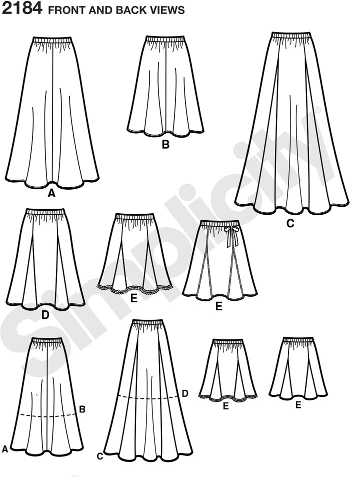 Misses bias skirt in two lengths and gored skirt in three lengths sewing pattern.
