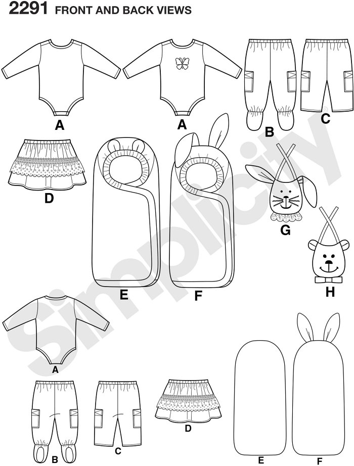 Babies´ Trousers, skirt, bibs, knit bodysuit, and one size bunting.