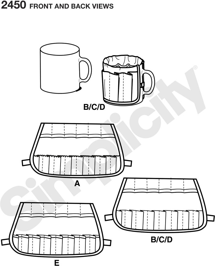 Buckets Gone Wild sewing pattern.  Mug Bucket organizer fits over a regular size coffee mug and makes unique holder for small items.