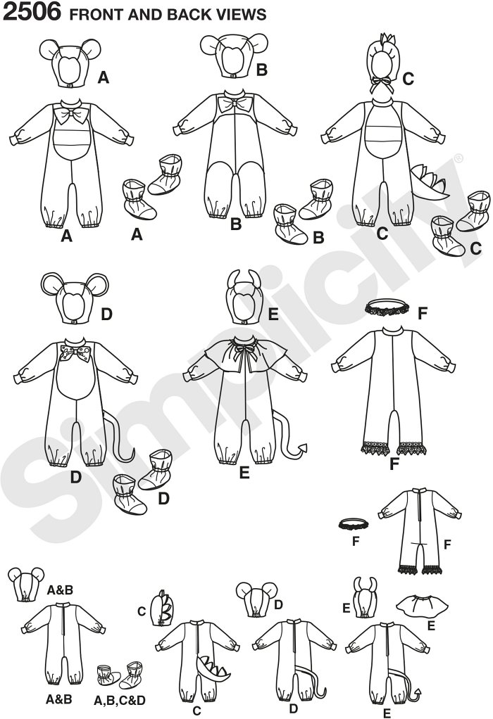 Toddlers animal costumes, including toddler mouse costume, devil, dragon, angel, bear sewing patterns