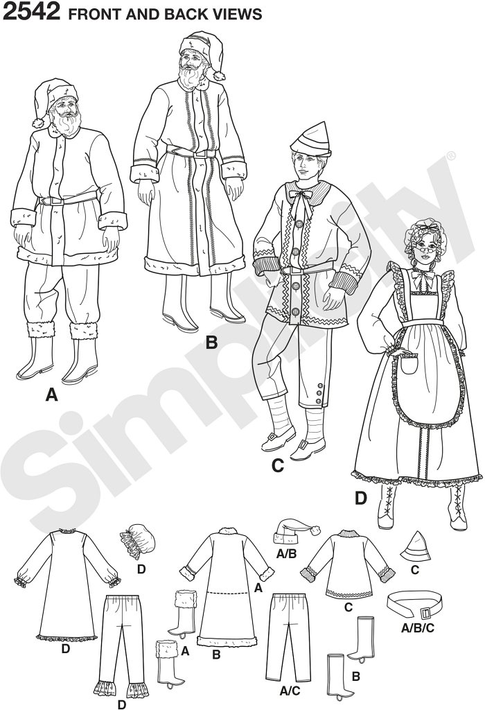 Adults costumes.  Misses´ and Men´s Christmas holiday sewing patterns