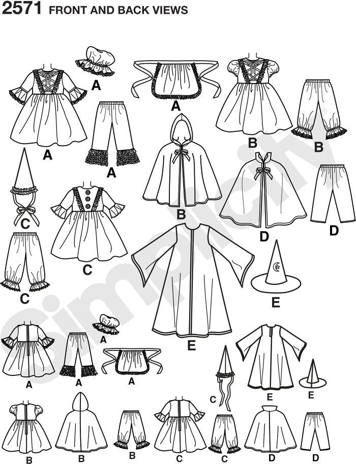 Toddler costumes - little bo peep, little red riding hood, dracula, clown and wizard costume patterns.