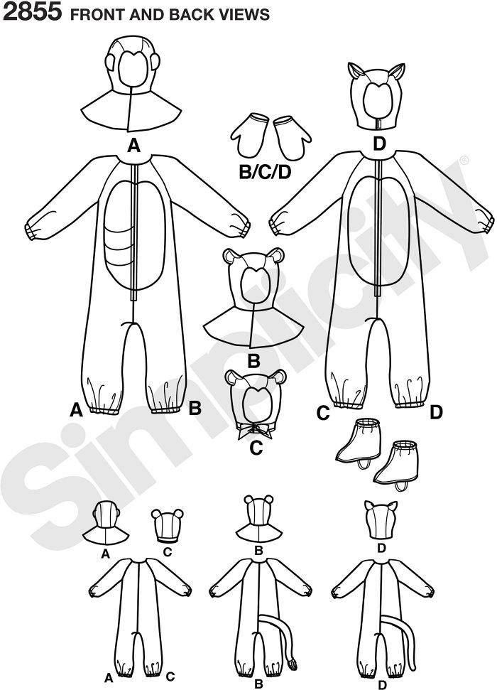 Child Gorilla, Lion, Bear and Cat Costumes