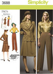 Simplicity 3688. Plus Size Blouse, Skirt, Trousers and Lined Jacket: Retro 1940´s.