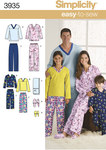 Simplicity 3935. Pajama Trousers, Top, Slippers and Remote Control Holder.
